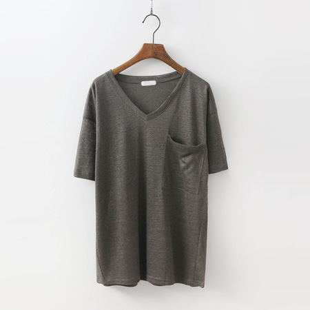 Linen Pocket V-Neck Tee