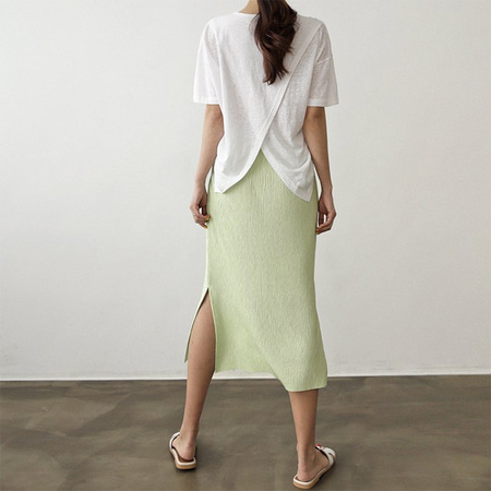 Linen Cotton Back Slit Tee