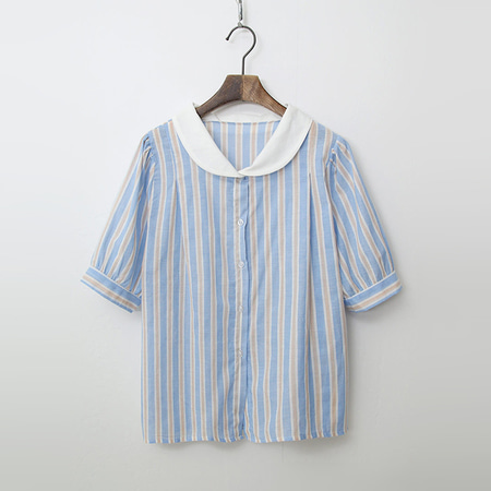 Cotton Stripe Puff Shirts
