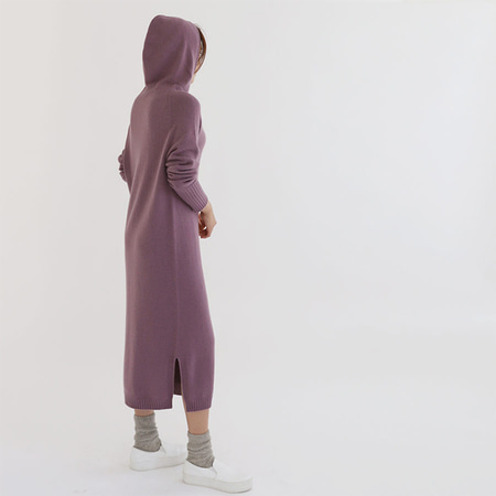 Maille Cashmere N Wool Hood Long Dress