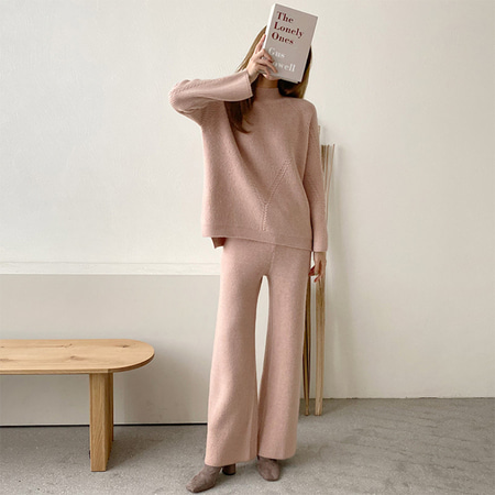 [Set] Half Turtle Knit + Wide Pants